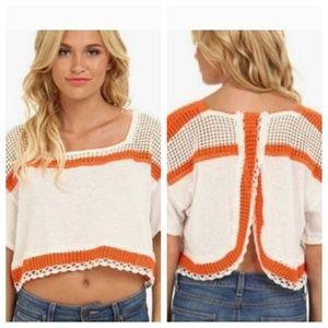 New Free People Crochet Ivory Orange Cropped Top